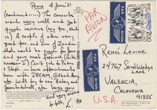 "Autograph letter signed ""E."" to the noted music administrator and author Renée Levine [Packer]. Earle BROWN."
