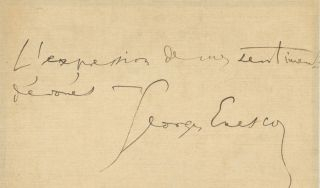 Autograph letter signed to an unidentified male correspondent. Georges ENESCU.