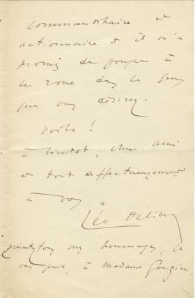 Autograph letter signed to an unidentified male correspondent, possibly the composer Armand...