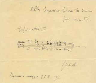 "Autograph musical quotation signed ""G Mulè"" and inscribed to the Italian artist Silvia. Giuseppe..."