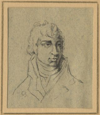 Fine original small bust-length drawing in black chalk and pen and ink on blue-grey paper, purportedly of the composer. Carl Maria von WEBER.