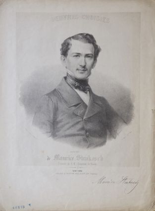 "Half-length portrait lithograph by Francis Davignon [D'Avignon] after a daguerrotype by P. Haas of the pianist in formal dress on the cover of his ""Postillon Polka,"" the 7-page score of which is included. Maurice STRAKOSCH."