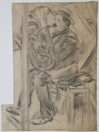 Charming drawing of a tuba player by the French artist Edmond Couturier (1871-1903). TUBA