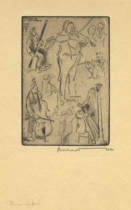 Impressions of Music-Makers. Etching of a group of musicians including Ysaÿe by Bernhardt....