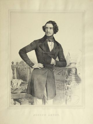 Fine large three-quarter length lithograph by Charles Baugniet (1814-1886) of the violinist in....