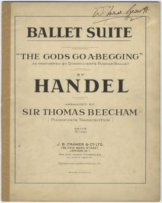 "Ballet Suite ""The Gods Go A-Begging"" as performed by Diaghilieff's Russian Ballet... arranged...."