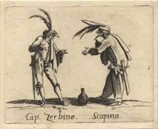Captain Zerbino and Scapino. Etching depicting the two well-known Commedia dell'arte figures in animated conversation over a flagon of wine. Ca. 1630, after Callot. Jacques CALLOT, after.