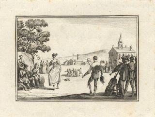 Etching of a 17th century couple dancing with a group of musicians performing in the right...