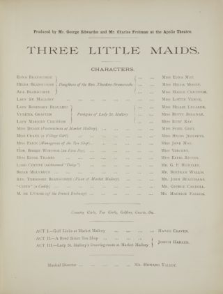 Three Little Maids. [Piano-vocal score]. Howard TALBOT.