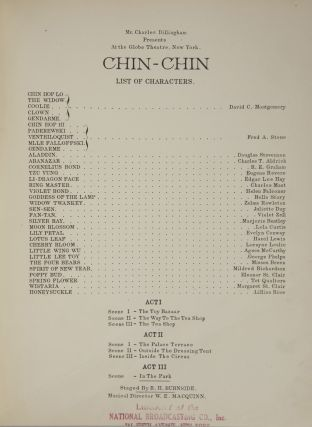 Chin-Chin. Words by Anne Caldwell. [Piano-vocal score]. Ivan CARYLL