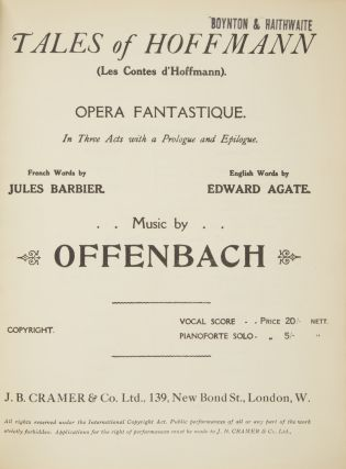 Tales of Hoffmann (Les Contes d'Hoffmann). Opera Fantastique In Three Acts with a. Jacques OFFENBACH.