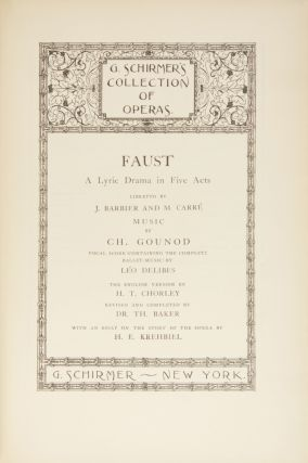 Faust A Lyric Drama in Five Acts Libretto by J. Barbier and M. Carré... Vocal Score (Containing...
