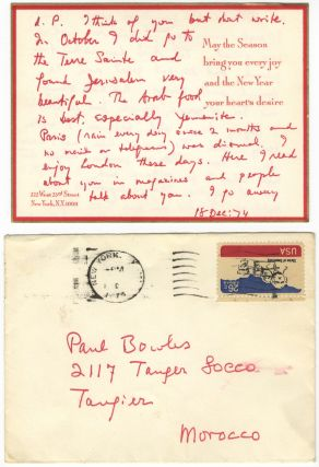 "Autograph letter to the noted American composer and writer Paul Bowles. Signed ""Everbest Virgil"" and dated December 18, 1974. Virgil THOMSON."