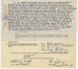 "Contract for the publication of Luening's ""Behold, the Tabernacle of God"" by Broadcast Music,..."