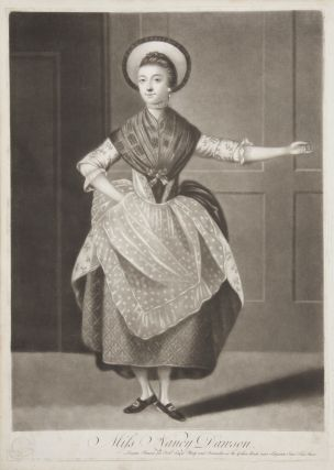 Original mezzotint engraving by Michael Jackson of Dawson performing her famous hornpipe dance. After a painting by an unknown artist held by the Garrick Club in London. BALLET - 18th century - English, Anne Newton, Nancy Dawson.