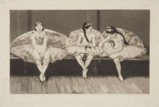 Etching with wash of three young ballet dancers sitting on a bench at rest in the studio. Paul RENOUARD.