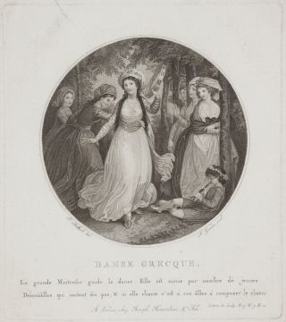 Danse Greque. La grande Maitresse guide la danse. Elle est suivie par nombre de jeunes Démoiselles qui imitent les pas, & si elle chante c'est à ces filles à composer le choeur. Fine circular stipple engraving by P. Zancon after Thomas Stothard (1755-1834). DANCE - 18th Century - French.