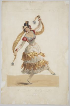 Bolera dansant les Mollares de Seville. Hand-coloured lithograph by Dollet after Blanchard. DANCE - 19th Century - French.