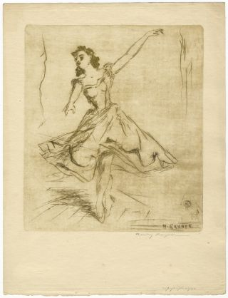 Drypoint etching of a ballet dancer. BALLET - 20th Century, Henry Rayner