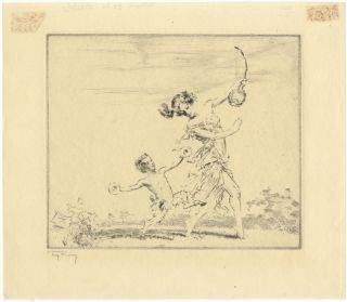 Original etching depicting a dancer holding a stringed instrument with a small satyr dancing...