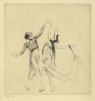 "Anna Pavlova and Alexander Volinin performing the ""Gavotte Pavlova."" Original etching. Anna PAVLOVA, Troy Kinney."