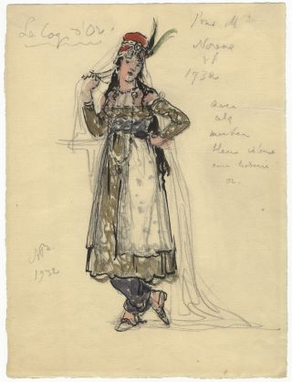 Original costume design for Rimsky-Korsakov's opera Le Coq d'Or by the noted Russian artist Alexandre Benois, in all likelihood for the character the Tsaritsa of Shemakha. Nikolay Andreyevich RIMSKY-KORSAKOV, Alexandre Benois.