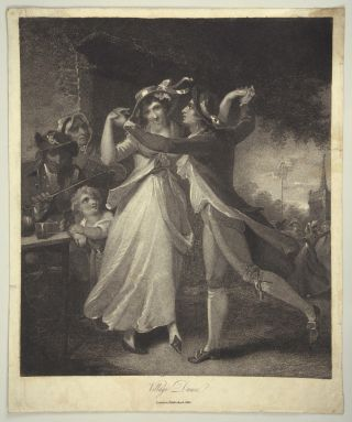 "Mezzotint entitled ""Village Dance."" London, 1814. DANCE - 19th Century"