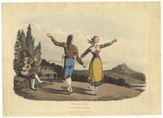 Danse de Boleras The Boleras Dance. Handcoloured aquatint by I. Clark after William Bradford...