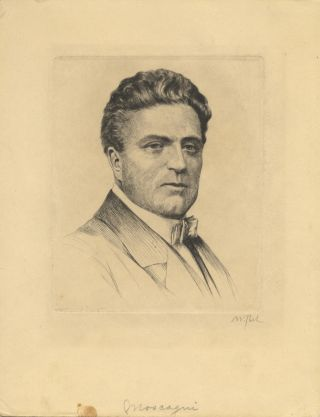 Bust-length portrait etching and drypoint of the composer by the German artist Waldemar Pech...