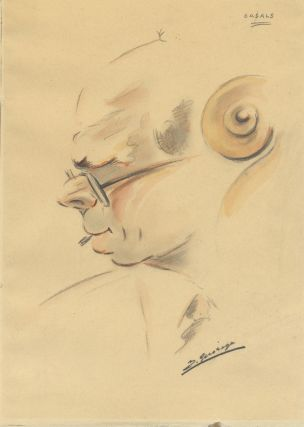 Original bust-length portrait drawing of the famed Catalan cellist in profile with 'cello scroll...