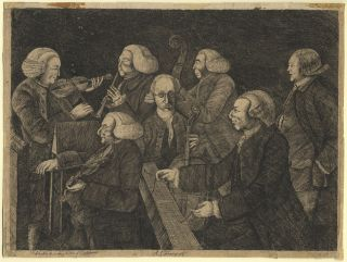 """A Concert."" Etching of a group of musicians performing at Christ's College, Cambridge, on June 8, 1767 by Sir Abraham Hume (1749-1838) after Thomas Orde Powlett, 1st Baron Bolton (1746-1807). MUSICAL INSTRUMENTS."
