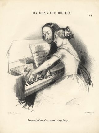 Exécution brillante d'une sonate à vingt doits. Lithograph of a young lady at the piano by Frédéric Bouchot (fl. 1820-1850). PIANO - 19th Century - French.
