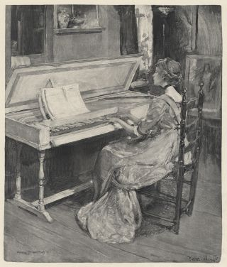 Wood engraving of a young woman playing a spinet. By Frank H. Wellington (1858-1911) after Harry Townsend (1879-1941). PIANO.