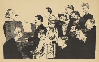 Lithographic caricature of a pianist, in all likelihood Vincent d'Indy, seated at an upright...