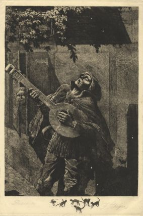 Etching and aquatint of the character Beckmesser in Wagner's opera Die Meistersinger von Nurnberg serenading Eva (or Magdalena) at night. By Ferdinand Staeger (1880-1976). A rare proof copy. Richard WAGNER.