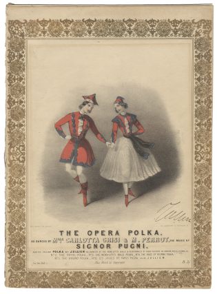 The Opera Polka, as danced by Mlle. Carlotta Grisi & M. Perrot the music by Signor Pugni. Also,...