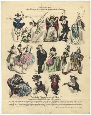 """Guckkasten Bilder bei heiterer Beleuchtung."" Hand-coloured engraving by Andreas Geiger after Cajetan satirizing ballet dancers, opera singers, and a musician. DANCE - 19th Century - Austrian."