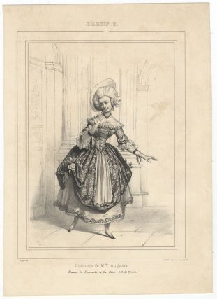 Costume de Melle. Augusta. Dans le Spectacle à la Cour. (Th. du Gymnase). Lithograph by...