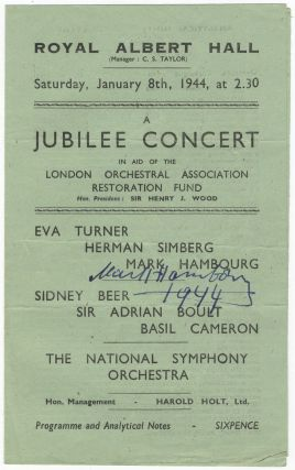 Autograph signature dated 1944 in ink on a performance program featuring Hambourg, Eva. Mark...