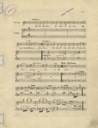 """And she says true..."" Song for tenor voice and piano. Engraved [?]proof copy signed by British tenor John Harrison."