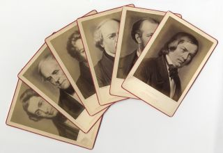 Group of 6 original cabinet card photographs of 19th century composers Adam, Auber. ICONOGRAPHY -...