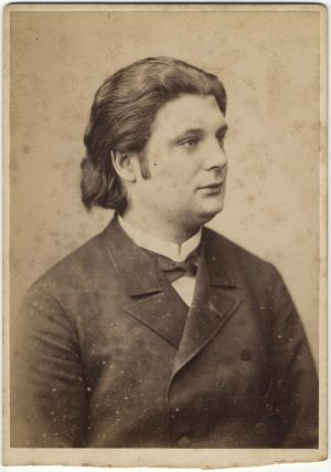 Original 19th century cabinet card photograph of the distinguished violinist looking left,...