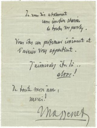 "Autograph note signed ""Massenet"" to the French composer and musicologist Maurice Emmanuel (1862-1938), 42 rue de Grenelle, [Paris]. Jules MASSENET."