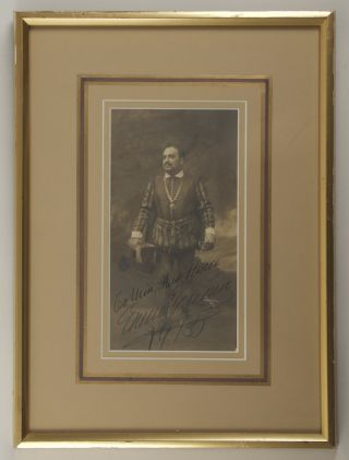 "Fine original photograph by the New York photographer Mishkin of Caruso in the role of Raoul in Meyerbeer's Les Huguenots. Signed, with an autograph inscription ""To Miss May Hiscose"" dated 1915."