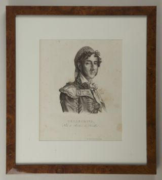 Bust-length portrait lithograph after Parent of Pelligrini as Figaro in Rossini's opera Il Barbiere di Siviglia at the Théâtre Italienne.