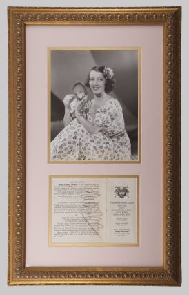Program excerpt for a performance at The Amphion Club, San Diego, November 7, 1943. Signed in full by Pons in black crayon. Double matted in pink and gold in an ornate gilt frame together with a three-quarter length photograph of Pons.