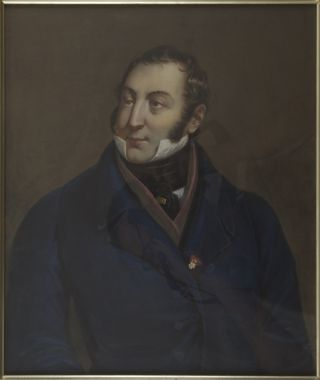 Lithographic portrait by Henry Grevedon after the painting by Lescot, overpainted in gouache and...