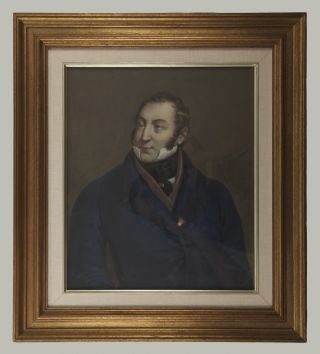 Lithographic portrait by Henry Grevedon after the painting by Lescot, overpainted in gouache and watercolour and laid down onto board.
