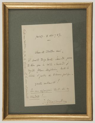 "Autograph letter signed ""J. Massenet"" to his ""dear illustrious friend."""