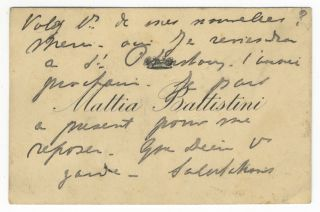 Autograph note on a visiting card. Mattia BATTISTINI.